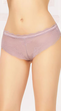 Laced Up High Waisted Panty - Mauve
