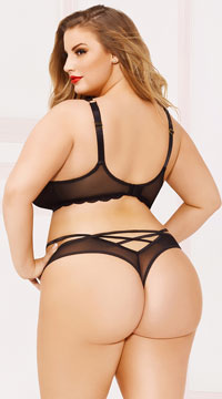 Plus Size Enchanting Lace Thong - Black