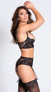 On Point Mesh and Lace Bra Set - Black