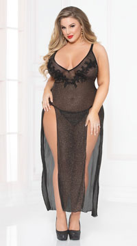 Plus Size Sassy Shimmer Lingerie Gown Set - Black
