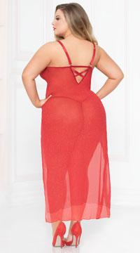 Plus Size Sassy Shimmer Lingerie Gown Set - Red