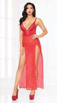 Sassy Shimmer Lingerie Gown Set - Red