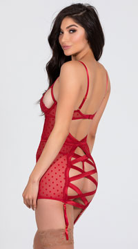 Sensual Tease Chemise Set - Red