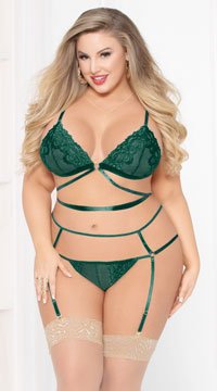 Plus Size Green Goddess Bra Set - Green