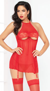 Cupless Cutie Babydoll Set - Red