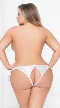 Plus Size All Tied Up Lace Panty - White