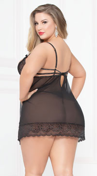 Plus Size Open Cup Blissful Babydoll Set - Black