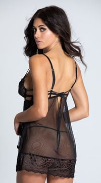Open Cup Blissful Babydoll Set - Black