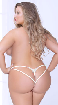 Plus Size Glam Butterfly Strappy Panty - White