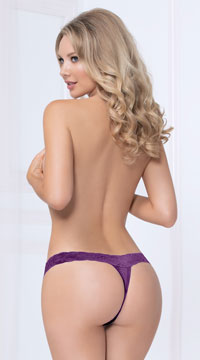 Adoration Lace Thong Panty - Plum