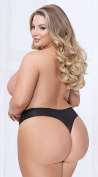 Plus Size Shadow Stripe Bonded Thong - Black