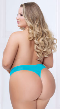 Plus Size Shadow Stripe Bonded Thong - Blue