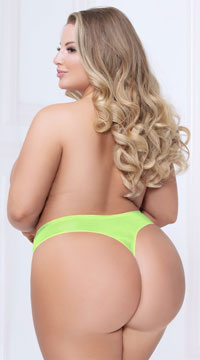 Plus Size Shadow Stripe Bonded Thong - Lime