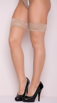 Sheer Lace Top Thigh High Stockings - Nude