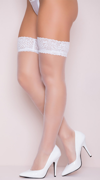 Sheer Lace Top Thigh High Stockings - White