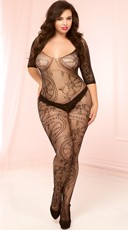 Plus Size Seductive Black Lace Bodystocking - Black