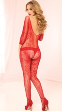 Plus Size Seductive Black Lace Bodystocking - Red