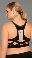 Plus Size Stow and Go Cage Sports Bra - Black