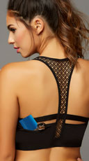 Stow and Go Crochet Sports Bra - Black