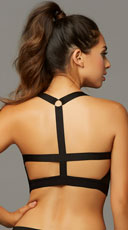 Strappy Netted Black Sports Bra - Space Dye Black