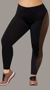 Plus Size Sport Jersey and Mesh Leggings - Black