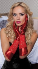 Lace And Lame Elbow Length Gloves - Red
