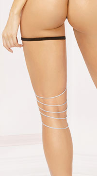 Silver Thigh Chain with Garter - Silver