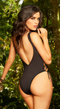 Plunging Laced One Piece Swimsuit - Black