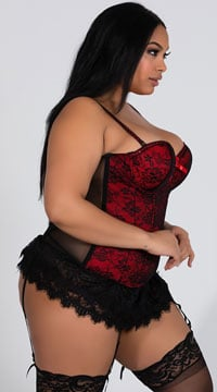Plus Size Victorian Lace Bustier - Red