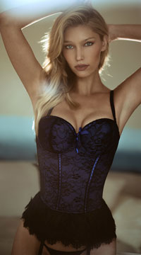 Victorian Lace Bustier and Thong - Blue