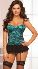 Victorian Lace Bustier and Thong - Teal