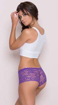 All Over Lace Boyshort - Purple