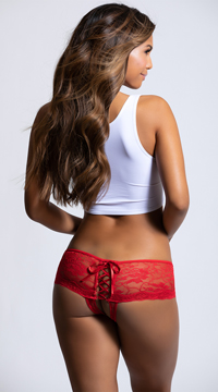 Open Back Lace Boy Short - Red