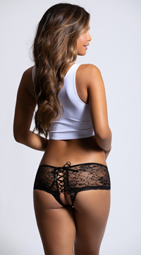 Open Back Lace Boy Short - Black