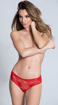 Lace Open Crotch Hipster - Red