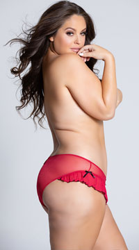 Plus Size Mesh Panty With Ruffle Hem And Back Keyhole - Red