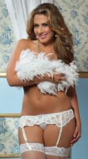 Plus Size Lace Affair Garter Belt - White