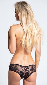Floral Fetish Crotchless Lace Panty - Black