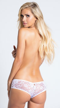 Floral Fetish Crotchless Lace Panty - White