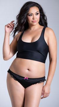 Plus Size Satin and Lace Crotchless Panty - Black