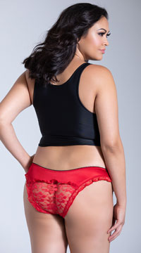 Plus Size Satin and Lace Crotchless Panty - Red