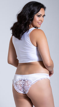 Plus Size Satin and Lace Crotchless Panty - White
