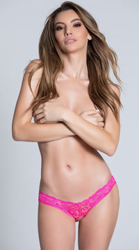 Caged Back Open Crotch Lace Panty - Pink