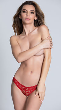 Caged Back Open Crotch Lace Panty - Red