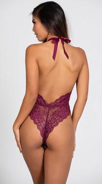 Lustful Kiss Lacy Teddy - Purple