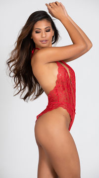 Lustful Kiss Lacy Teddy - Red