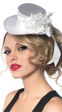 Satin Top Hat - White