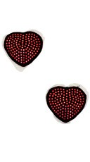Sequin Heart Pasties - Black/Red