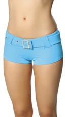 Belted Booty Shorts - Turquoise