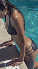 Edgy Strappy Black Bikini - as shown